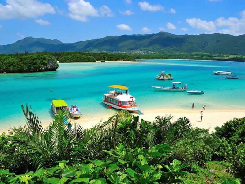 Okinawa beachfront with boats