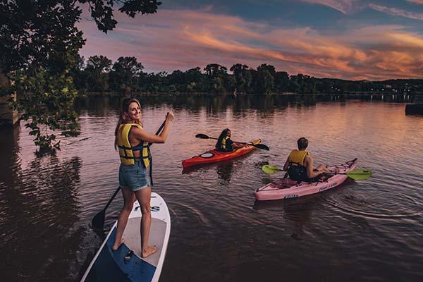 Kayak at sunset on lake