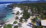 Aerial view of beach in Samoa