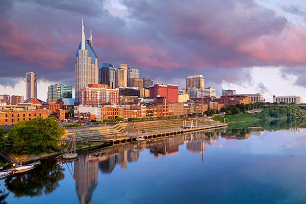 View of Nashville skyline and river