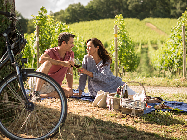 Couple having a picnic in vineyards
