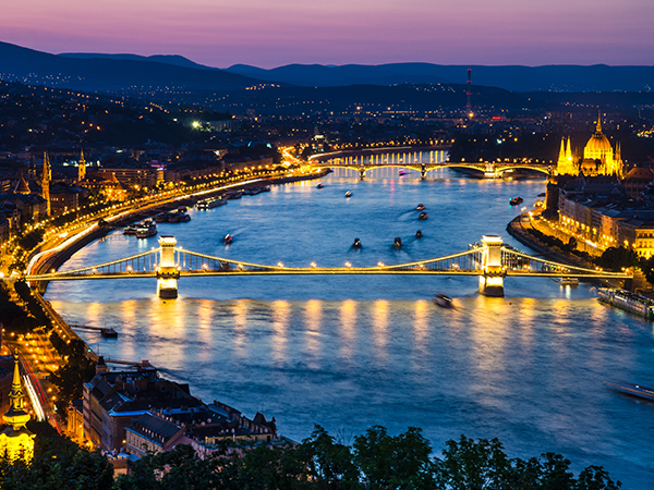 Aerial view of Danube River in Budapest at night