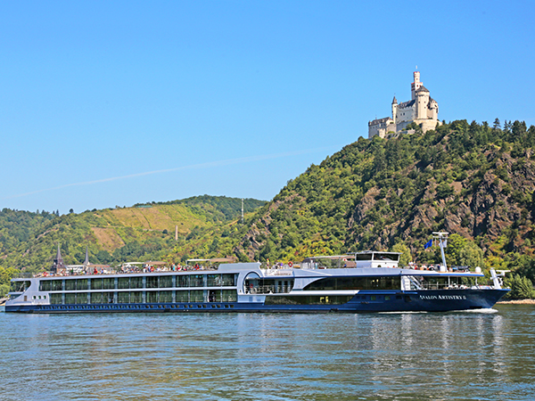 River cruise boat on river in Europe