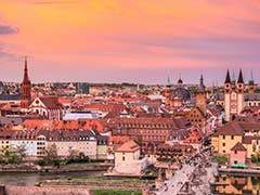 Sunset over skyline of Wurzburg