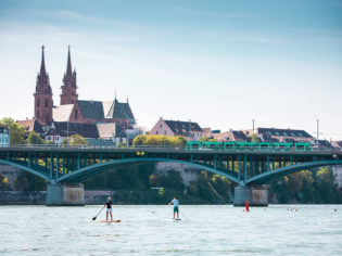 Paddleboarding on the Rhine, Basel Switzerland