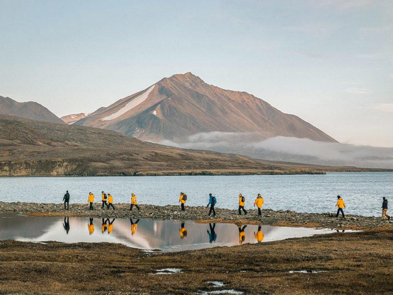 Cruise guests exploring Dundas Harbour, Arctic